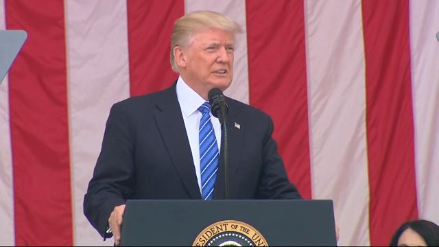 President Donald Trump has visited a section of Arlington National Cemetery where U.S. military members killed in the wars in Iraq and Afghanistan are buried. (May 29)