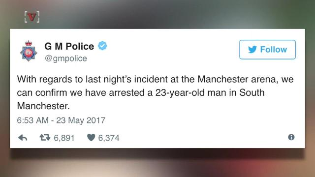 Police confirm they have arrested a 23-year-old man in connection to the Manchester arena bombing that killed 22 and injured 59. Elizabeth Keatinge (@elizkeatinge) has more.