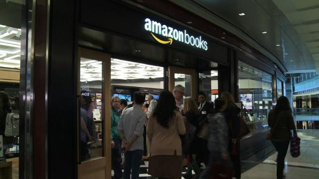 Online retail giant Amazon opens its first bricks and mortar bookstore in New York, selling a limited range of its highest-rated books and allowing customers to browse, as in times gone by.