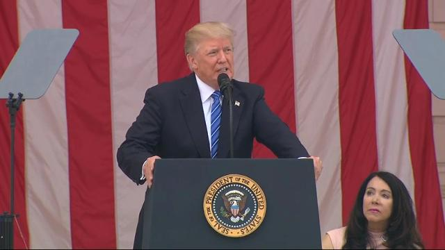 In Memorial Day remarks at Arlington National Cemetery, President Donald Trump urged the audience that stories of incredible military bravery must be told for 1,000 years.  (May 29)