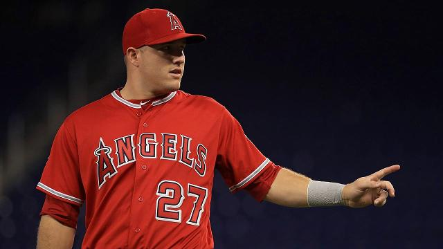 Los Angeles Angels outfielder Mike Trout sprained his left thumb stealing a base during Sunday's game against the Miami Marlins and is set to have an MRI on the injury.