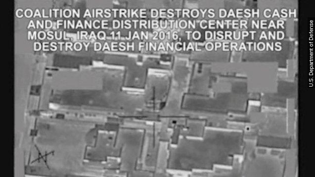 The U.S. Department of Defense released a video of the bombing on Mosul, Iraq. Video provided by Newsy