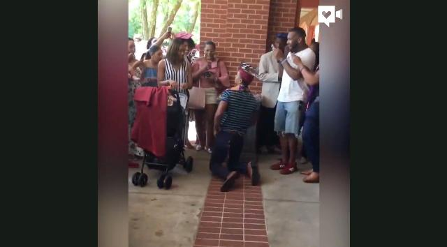 Adrian and his fraternity brothers started stepping after graduation. Then he surprised his girlfriend and everyone around them when he proposed to her.