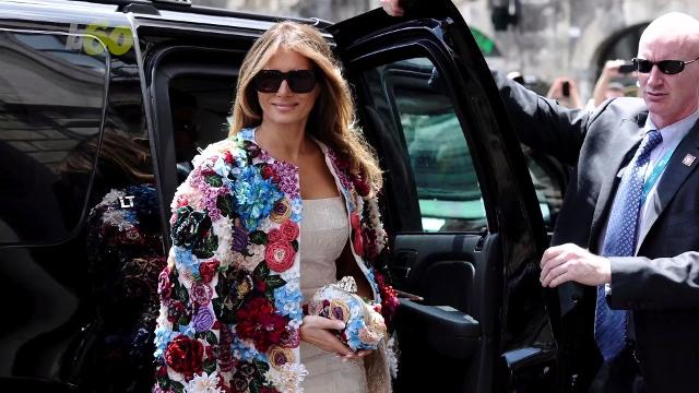 As President Trump's first foreign trip comes to an end, the First Lady is going out with a bang, fashion-wise. Buzz60's Susana Victoria Perez (@susana_vp) has more.