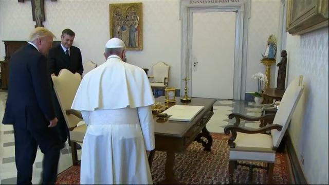 Pope Francis and President Donald Trump met at the Apostolic Palace in Vatican City on Wednesday. Trump's audience with the pontiff comes midway through his 9-day international trip. (May 24)