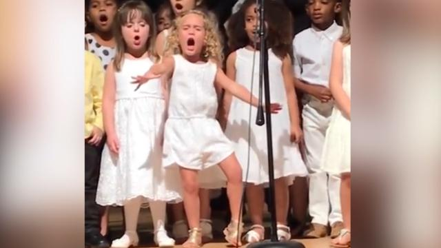 4-year-old is adorably extra at preschool graduation