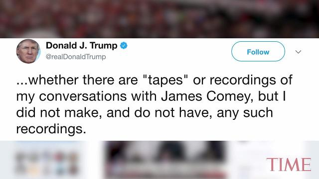 President Donald Trump conceded Thursday that he does not actually have tapes of his conversations with former FBI Director James Comey, weeks after his implication that he might have such recordings.
