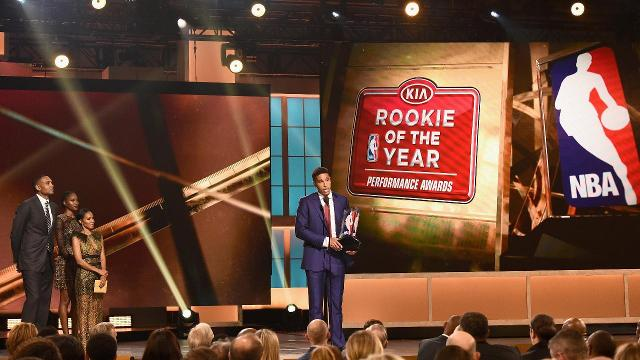 Milwaukee Bucks guard Malcolm Brogdon took home the Rookie of the Year Award on Monday night, defeating the Sixers' Joel Embiid and Dario Saric for the hardware.