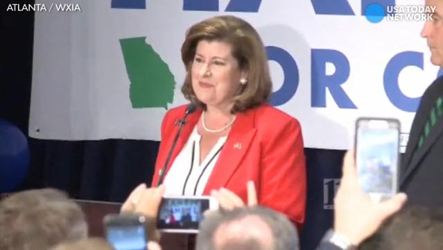 The crowd chanted President Trump's name after Republican Karen Handel defeated Democrat Jon Ossoff in the hotly contested Georgia special election to fill Tom Price's former seat in the House of Representatives.