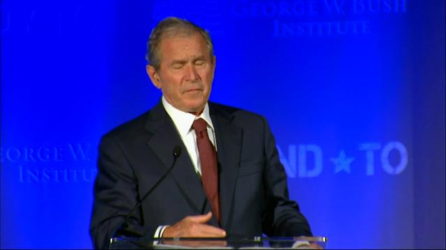Former President George W. Bush was in Washington, D.C. Friday addressing a summit focused on improving the lives of our nation's veterans and eliminating the stigma associated with post-traumatic stress. (June 23)