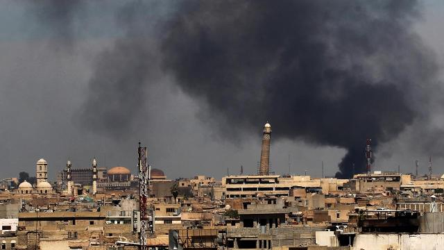 Iraq's Ministry of Defense says the Islamic State group destroyed the al-Nuri mosque in Mosul and the iconic leaning minaret when fighters detonated explosives inside the structures late Wednesday night.