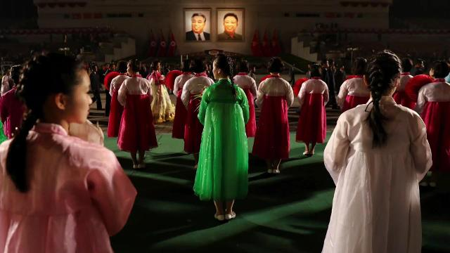 Women in heels and colorful clothes marched in central Pyongyang. Angeli Kakade (@angelikakade) has the story.