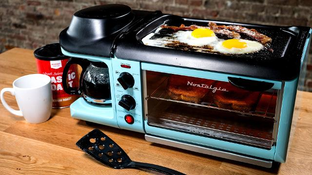 This retro appliance is a griddle coffee maker and toaster in one