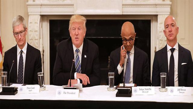 Social media users have pointed out how bored Tim Cook, Satya Nadella and Jeff Bezos looked at the White House with Trump