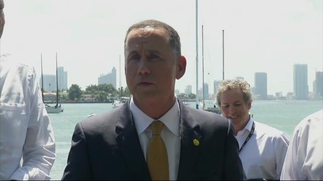 "New York City Mayor Bill de Blasio has labeled rising sea levels a ""clear and present danger."" Friday, he toured a section of renovated Miami Beach where the streets had been elevated to combat rising water. (Jun 23)"