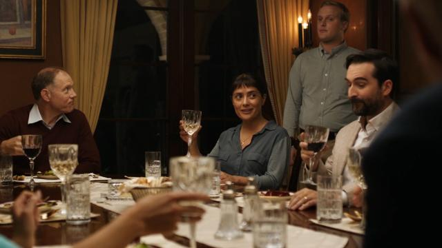 John Lithgow and Salma Hayek face off as a rich man and a healer at a dinner party.