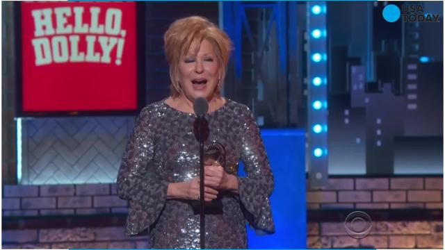 Bette Midler refuses to let her acceptance speech be cut short after winning Best Leading Actress in a Musical for 'Hello, Dolly!' at the Tony Awards.