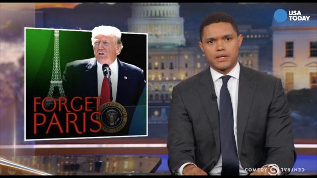 The late night comics talk Paris Climate Agreement. After you watch our favorite jokes, vote for yours at opinion.usatoday.com.