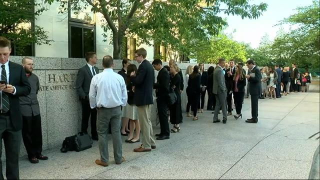 Raw: People line up for Comey Senate testimony