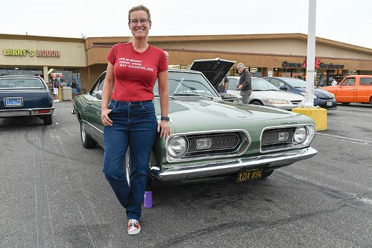 USA TODAY's Chris Woodyard talks to Maria Shrout of Long Beach, Calif., about  the 1968 Plymouth Barracuda she has named Sweet Pea