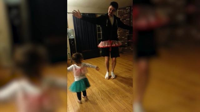 Dad adorably puts on tutu to dance with his little girl