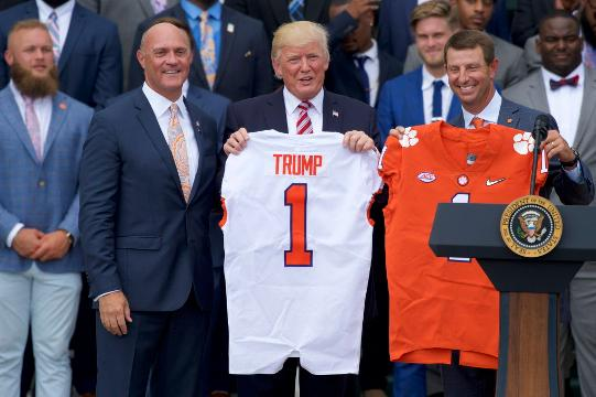 President Trump welcomed college football's national champions to the South Lawn on Monday.