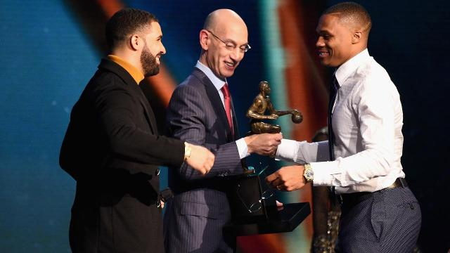 The Thunder's Russell Westbrook took home the MVP at the first ever NBA Awards on Monday night in New York City.