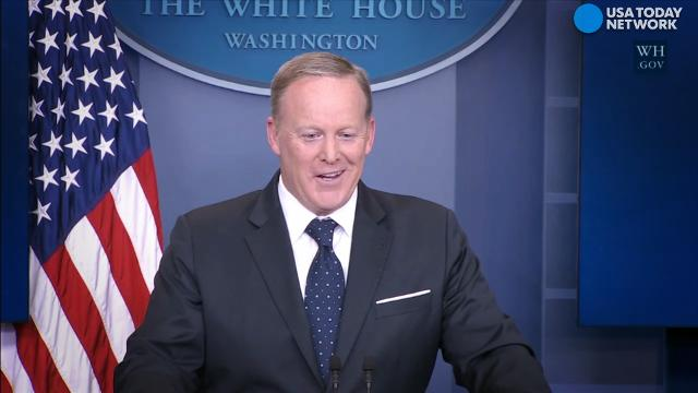 White House press secretary Sean Spicer was asked if his role would soon change. Spicer did not directly answer the question.