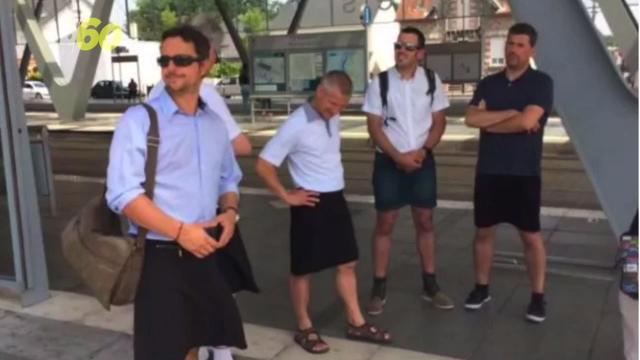 Men protest shorts ban in Europe by wearing skirts to their work. Buzz60's Djenane Beaulieu (@djenanebeaulieu) has more.