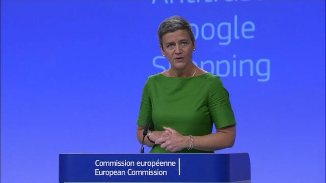 The European Union's competition watchdog slapped a record 2.42 billion euro (2.72 billion US dollars) fine on internet giant Google on Tuesday for breaching antitrust rules with its online shopping service. (June 27)