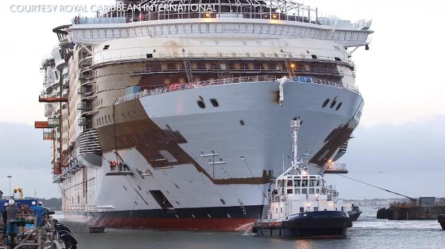 World S Largest Cruise Ship Symphony Of The Seas Takes To Water For First Time